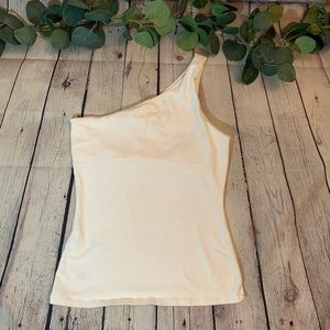 White one shoulder tank
